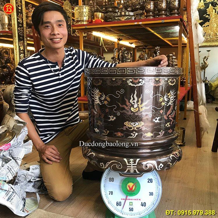 Bát Hương Đồng Khảm Ngũ Sắc ĐK 47,5cm
