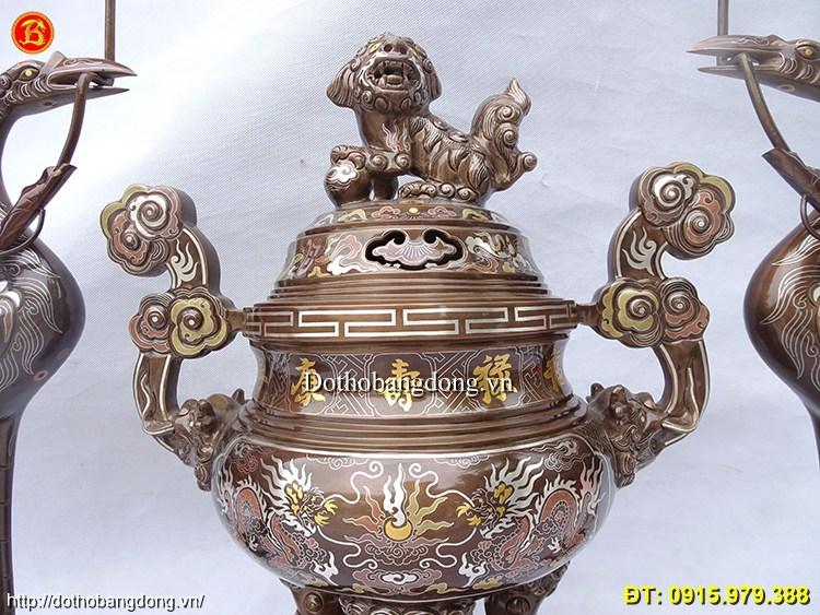 Đồ Thờ Khảm Ngũ Sắc Khảm 5 Chữ Vàng Cao 50cm