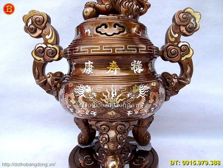 Đỉnh Đồng Khảm Tam Khí Cao 60cm