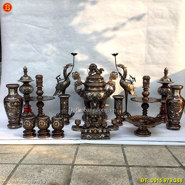 Đồ Đồng Khảm Ngũ Sắc thờ cúng cao 60cm