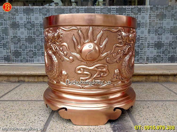 Bát Hương Bằng Đồng Đỏ Đúc Rồng Nổi 39cm Đình Chùa