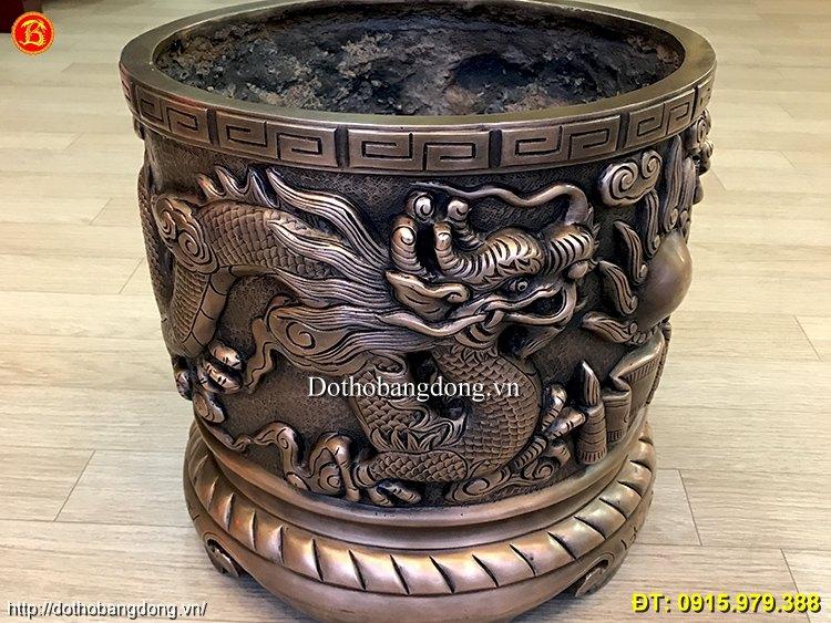 Bát Hương Rồng Nổi Cung Tiến 40cm Đồng  Hun Giả Cổ