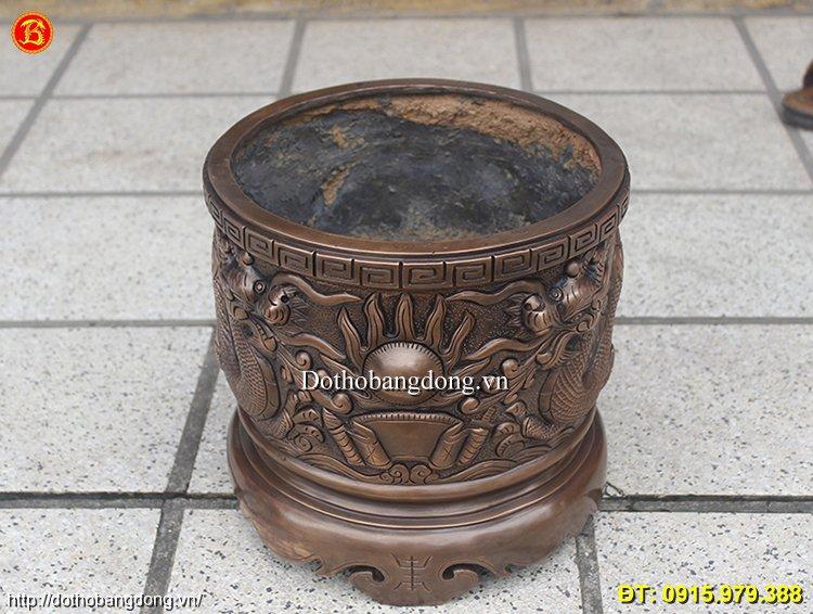 Bát Hương Đồng Đỏ Cung Tiến 30cm Hun Giả Cổ
