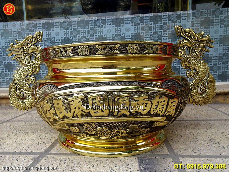 Bát Hương Đồng Tai Rồng 40cm Thờ Cúng