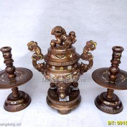 đồ thờ bằng đồng khảm tam khí