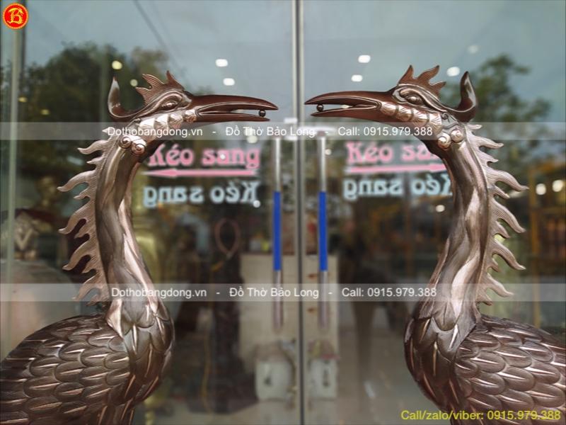 Hạc Thờ Bằng Đồng Đỏ 1m55 Đình Chùa, Nhà Thờ Họ