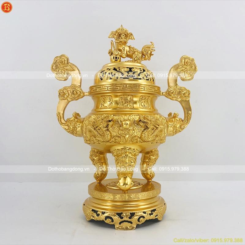 Đỉnh Thờ Bằng Đồng Dát Vàng 9999 Đúc Rồng Nổi 60cm