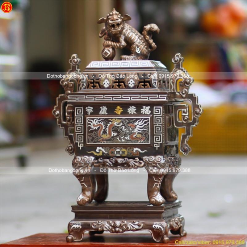 Đỉnh Đồng Vuông Khảm Tam Khí Tai Triện cao 60cm