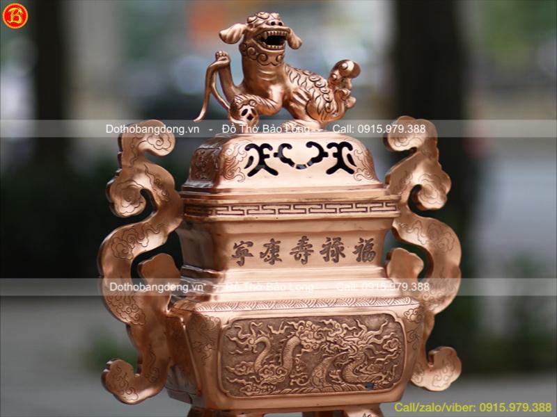 Đỉnh Vuông Đồng Đỏ Tai Mây Cao 60cm thờ cúng