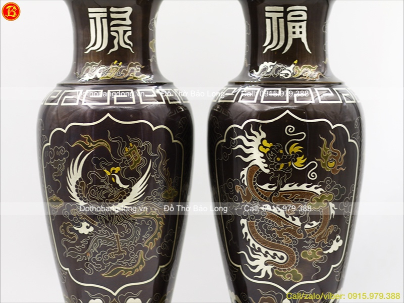 Lọ Hoa Bằng Đồng Khảm Ngũ Sắc cao 48cm