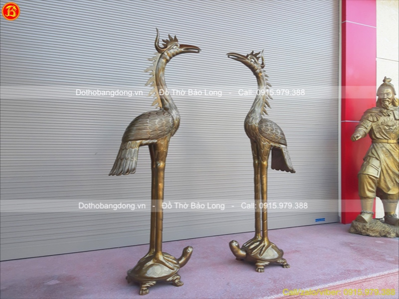 Hạc Thờ Đồng Đỏ Đình Chùa 1m76