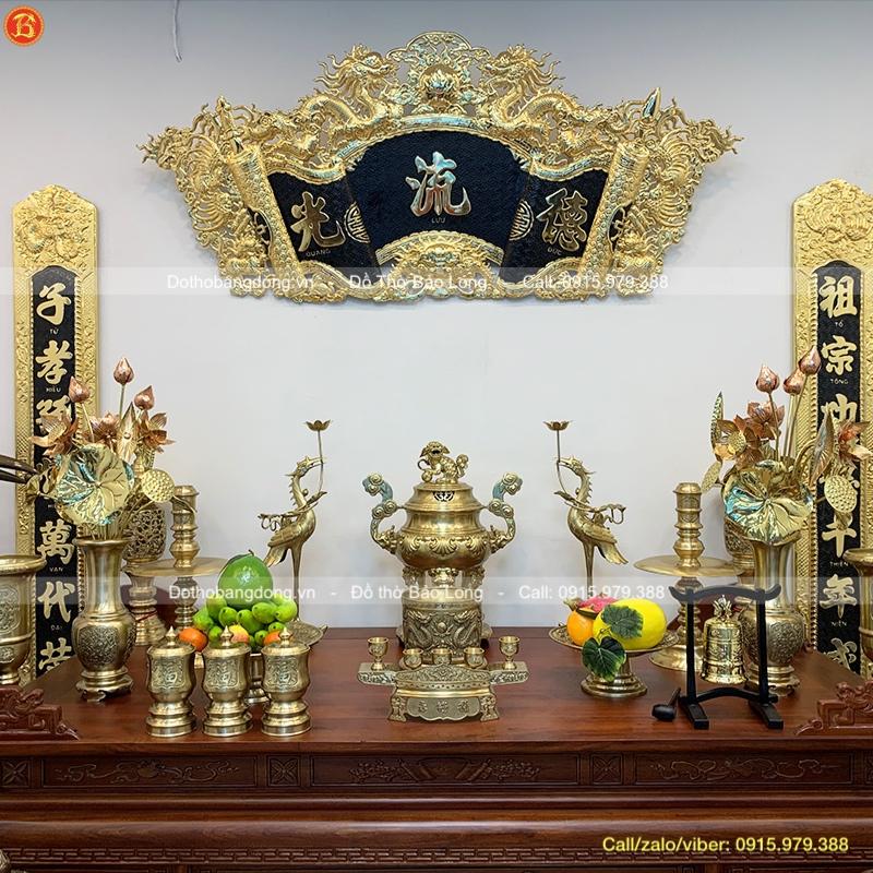 Đồ Thờ Bằng Đồng Vàng Bộ Đầy Đủ Cao 60cm