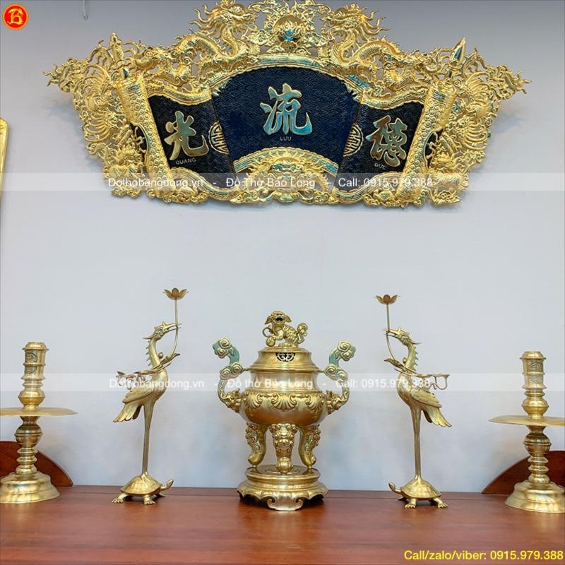 Ngũ Sự Đồng Vàng Đỉnh Sòi Mộc Cao 60cm