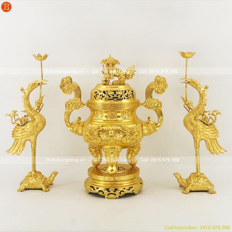 Tam Sự Bằng Đồng Dát Vàng Đỉnh Hạc 60cm