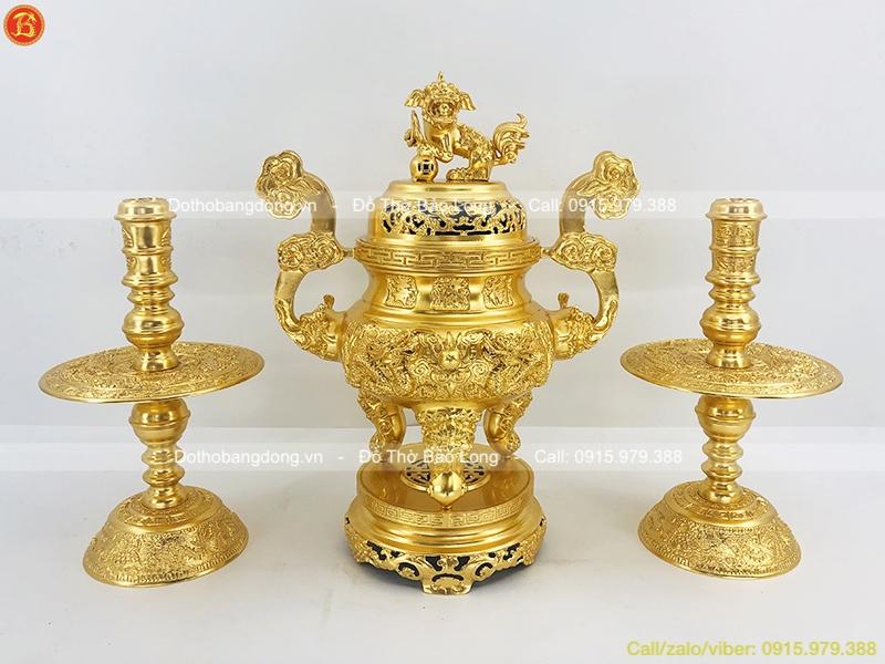 Bộ Tam Sự Đồng Dát Vàng 9999 Đỉnh Nến 60cm
