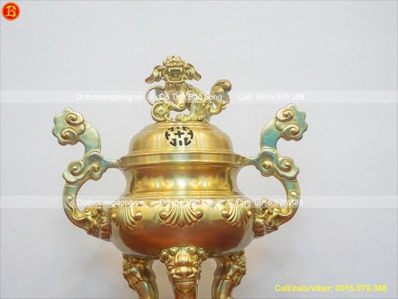 Đỉnh Thờ Đồng Vàng Hoa Sòi Mộc Cao 50cm