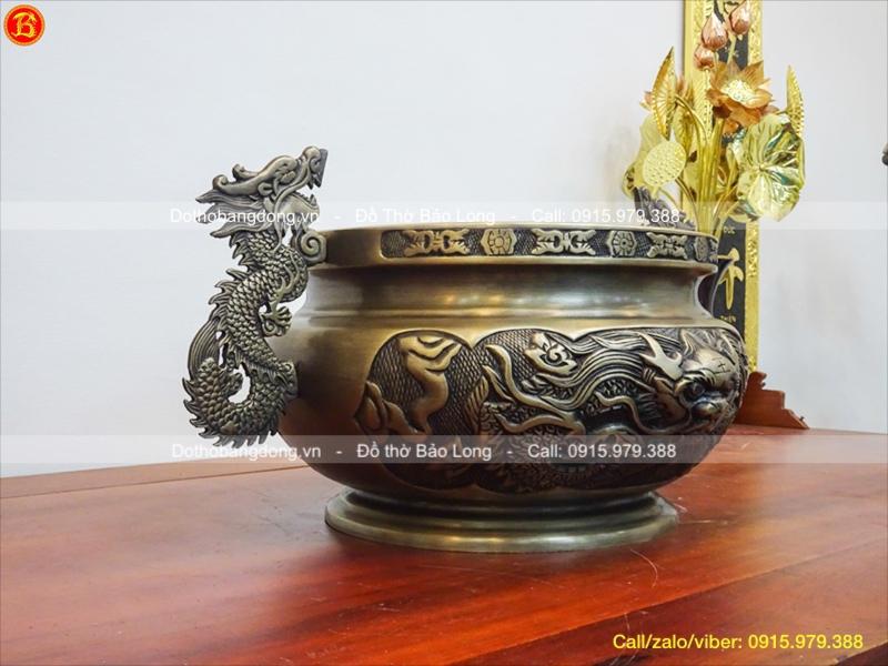 Bát Hương Tai Rồng Đền Chùa Giả Cổ 40cm
