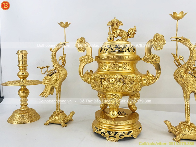 Ngũ Sự Bằng Đồng Dát Vàng Đỉnh Rồng Nổi 60cm