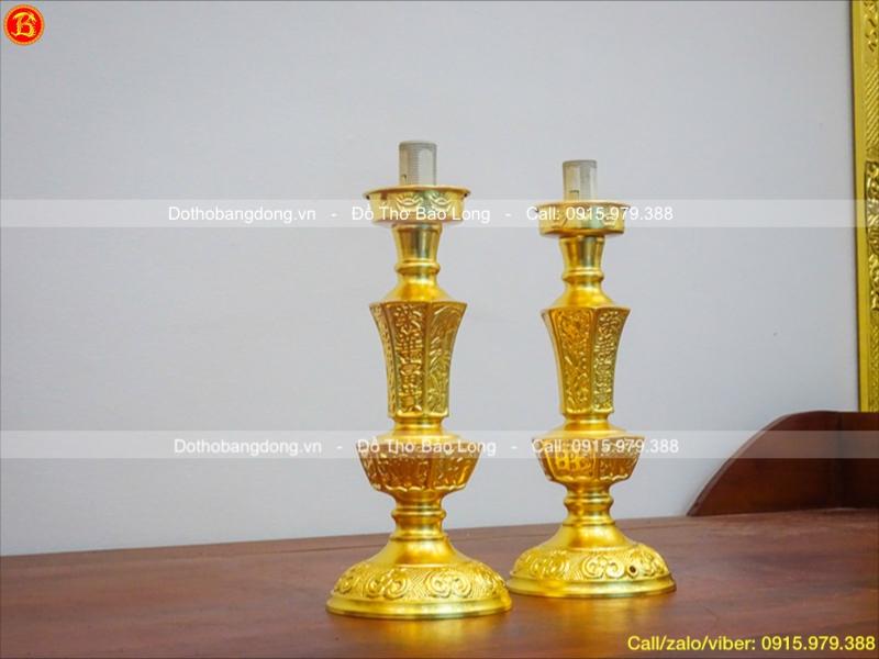 Chân Đèn Thờ Bằng Đồng Dát Vàng Cao 30cm