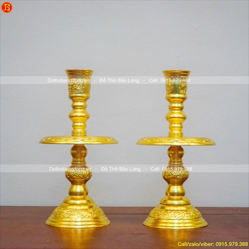 Chân Nến Đồng Dát Vàng Thờ Cúng Cao 30cm