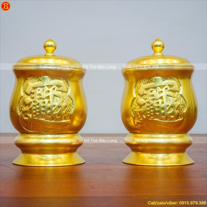 Chóe Nước Bằng Đồng Dát Vàng Thờ Cúng 9cm