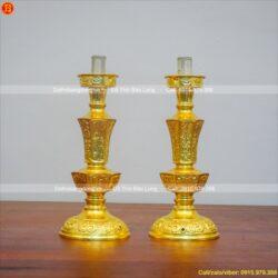 chân đèn thờ bằng đồng dát vàng