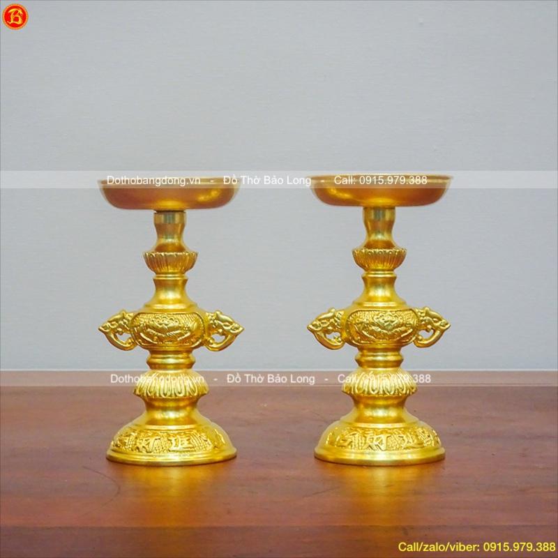 Chân Nến Thờ Bằng Đồng Dát Vàng Cao 18cm