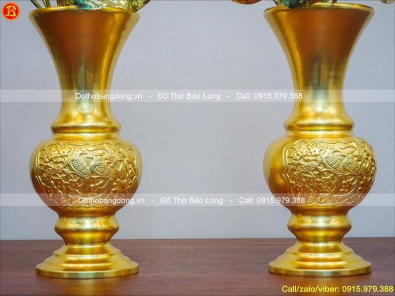 Lọ Hoa Cúc Đồng Dát Vàng Cao 33cm