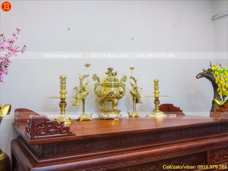 Ngũ Sự Đồng Vàng Bóng Rồng Nổi Cao 60cm