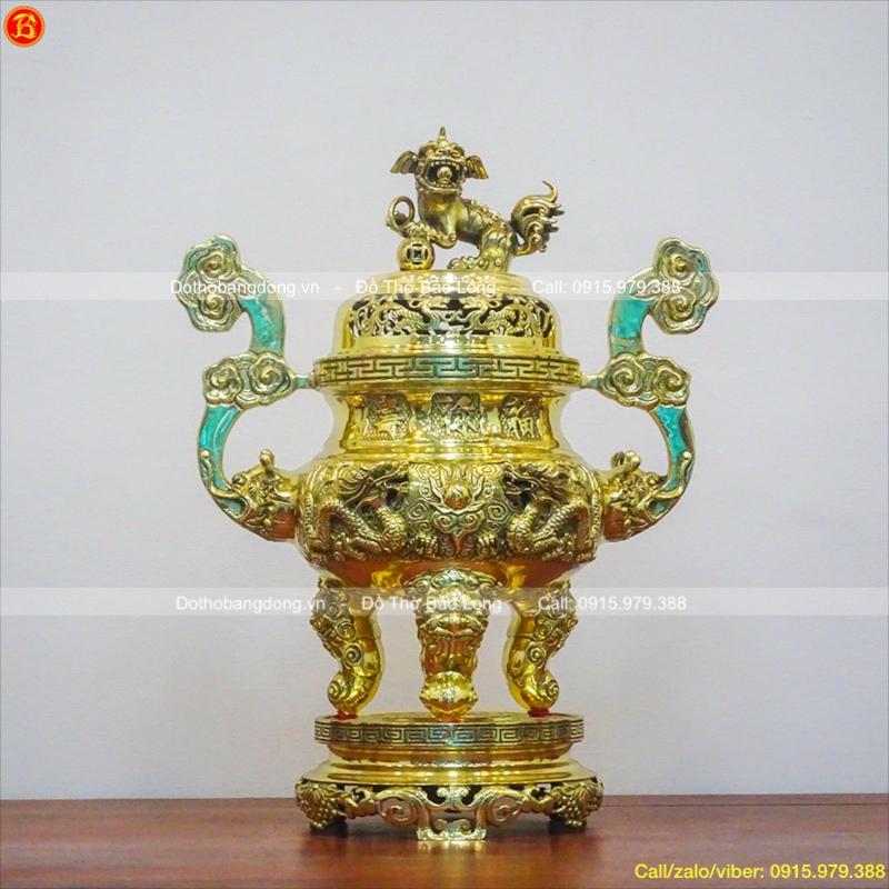 Đỉnh Thờ Bằng Đồng Vàng Bóng Cao 60cm