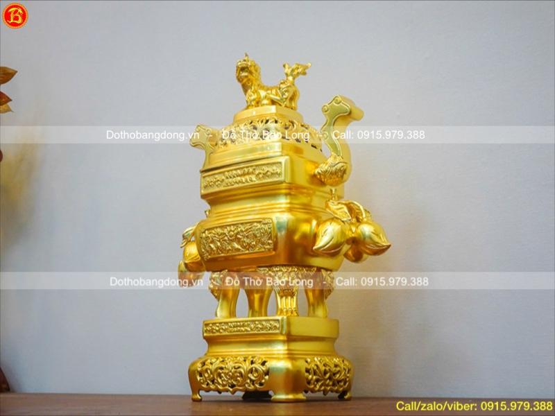 Đỉnh Đồng Vuông Dát Vàng Trái Đào 45cm