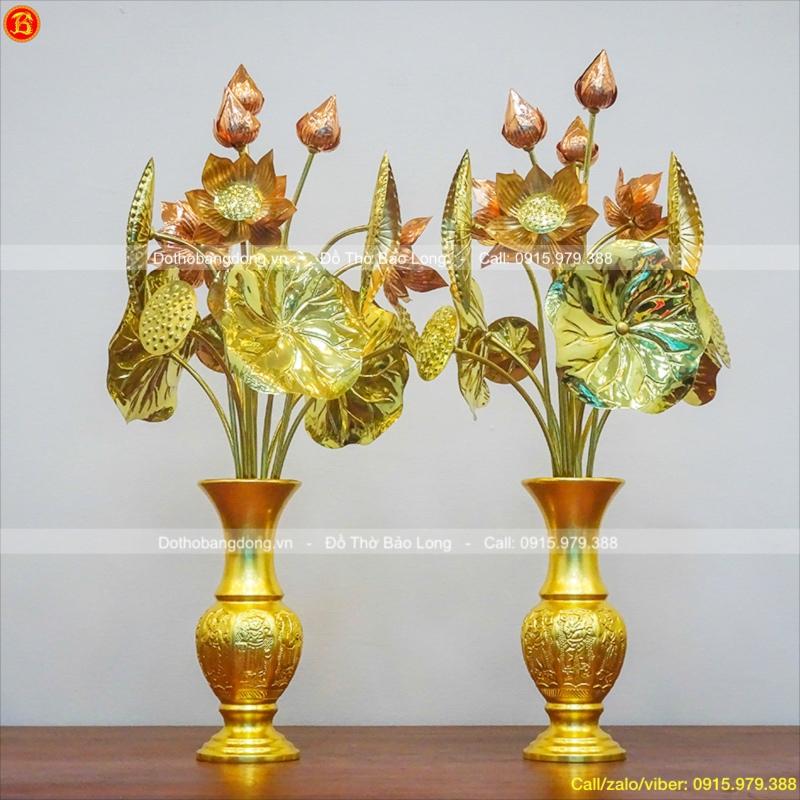 Lọ Hoa Bát Tiên Bằng Đồng Dát Vàng 30cm