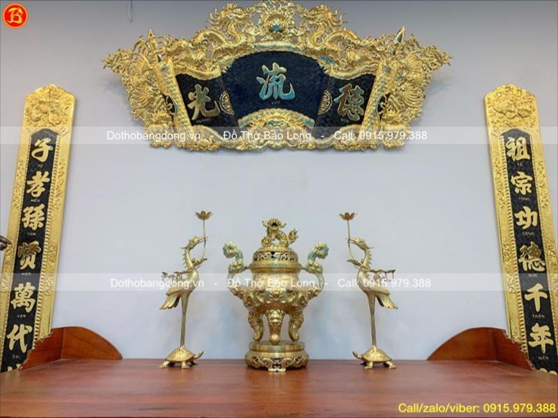Tam Sự Đỉnh Hạc Bằng Đồng Vàng Rồng Nổi Cao 60cm