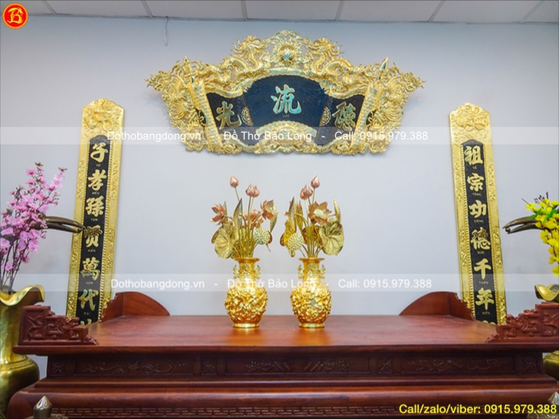 Lọ Hoa Mẫu Đơn Phú Quý Dát Vàng Cao 32cm