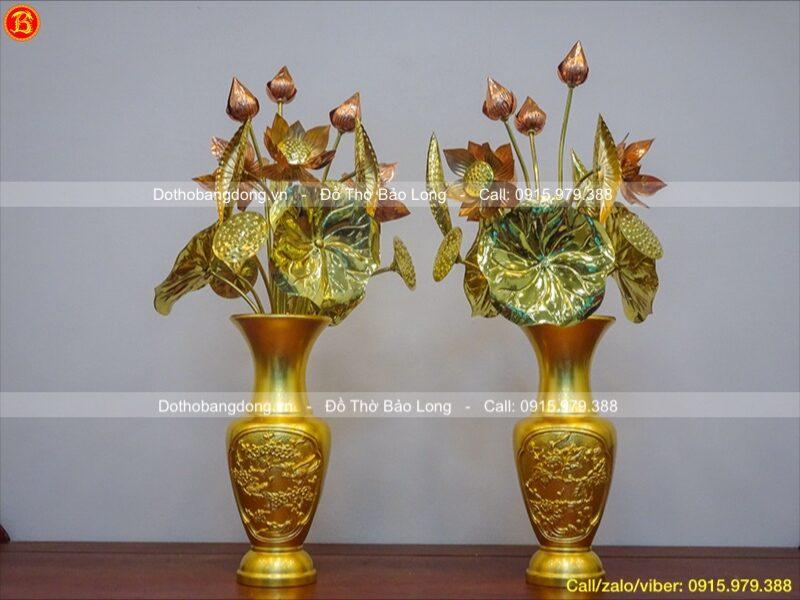 Đôi lọ hoa tứ quý dát vàng 9999