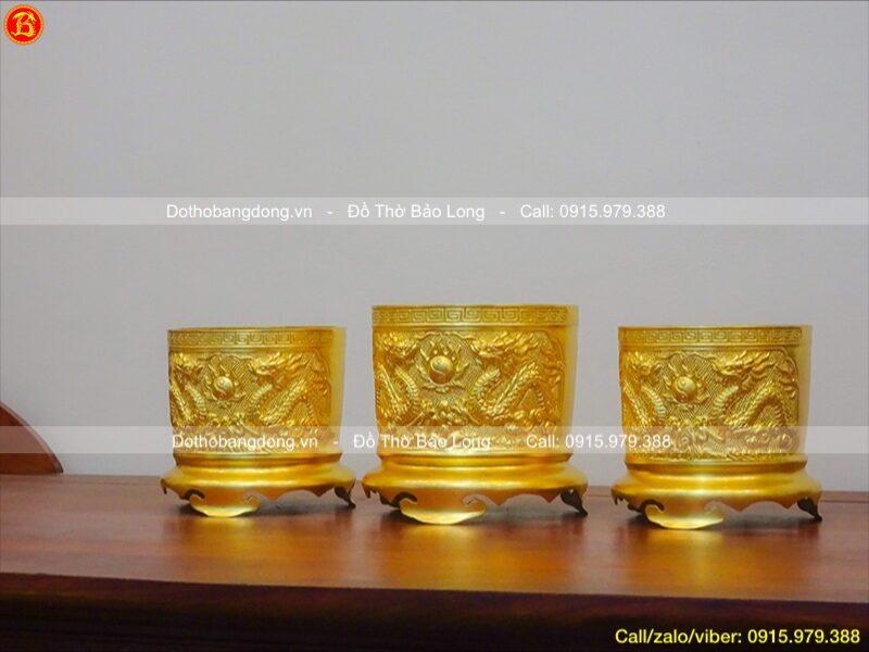 Bộ 3 bát hương rồng nổi dát vàng