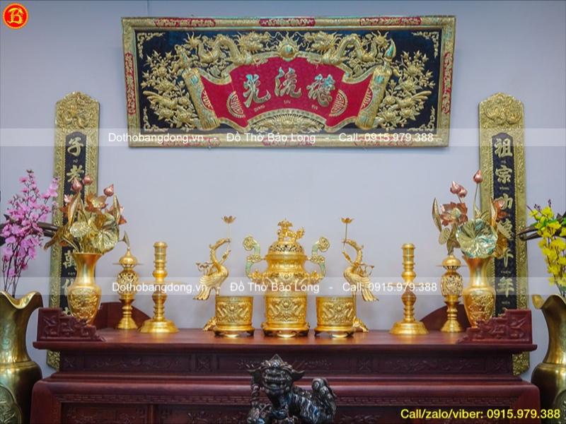 Bộ Đồ thờ đỉnh rồng nổi dát vàng 9999 cao 60cm