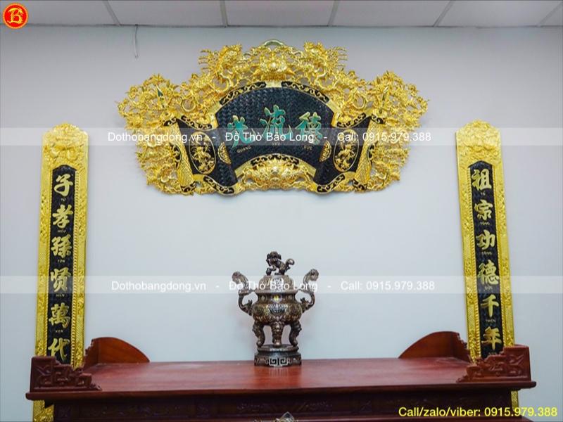 Bộ Cuốn Thư Câu Đối rồng hóa mạ vàng 24k 1m76
