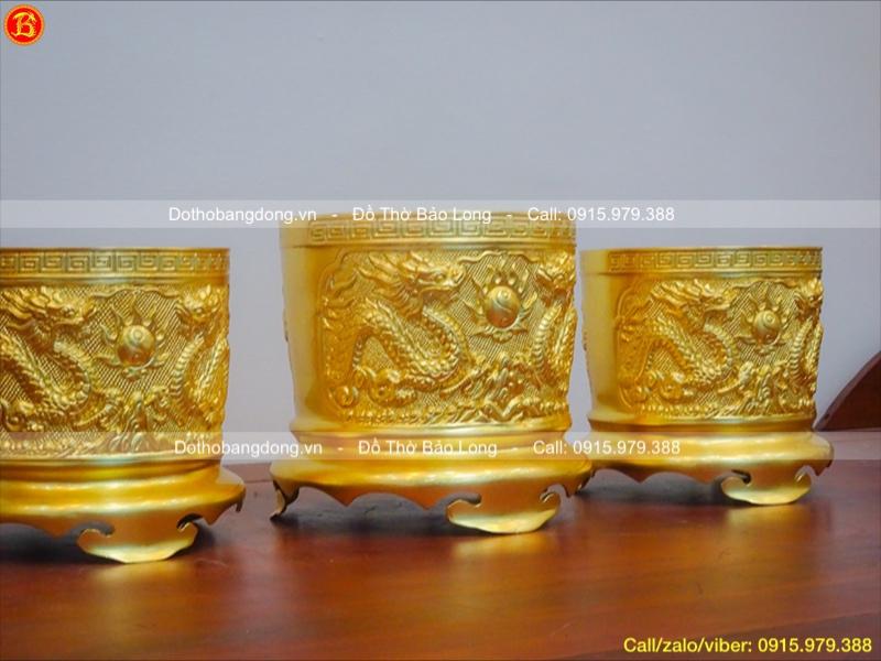 Bộ 3 Bát hương rồng nổi dát vàng 9999 18-20cm