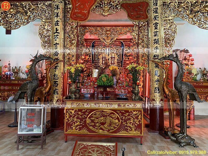 đôi hạc thờ bằng đồng cao 1m97 cho đình làng tại Thanh Trì