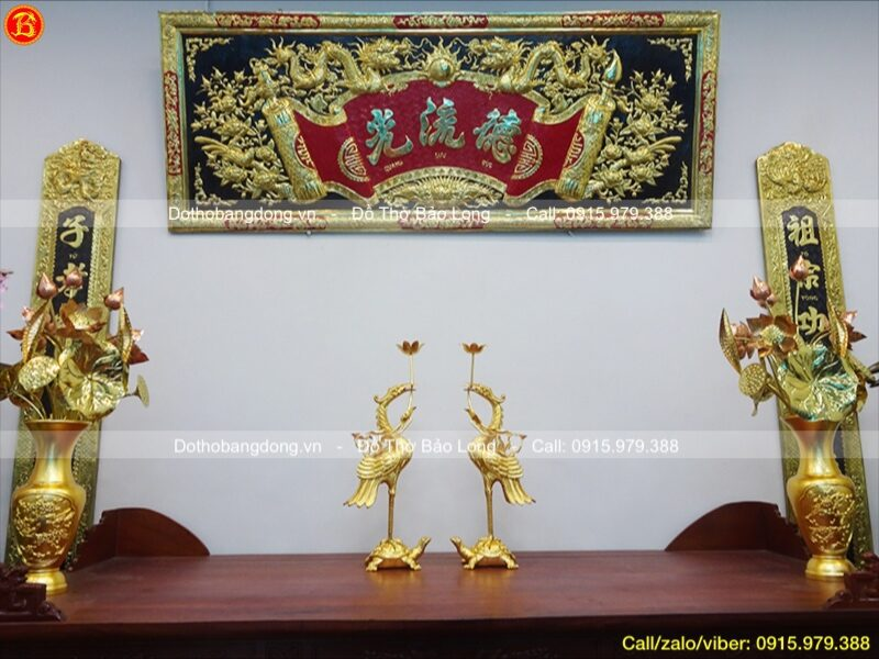 đôi hạc thờ bằng đồng dát vàng