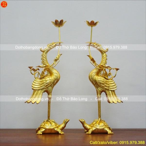 Đôi Hạc thờ bằng đồng dát vàng 9999 cao 60cm