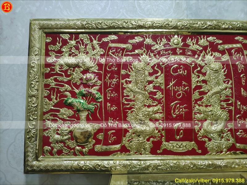 Liễn thờ tổ tiên Cửu Huyền Thất Tổ bằng đồng 1m07 x 61cm