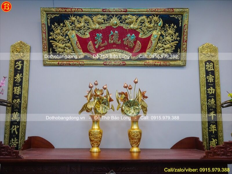 đôi lọ hoa tứ quý dát vàng 9999 cao 36cm