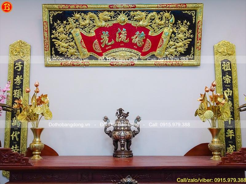 Đỉnh thờ bằng đồng khảm tam khí khảm 5 chữ vàng 50cm