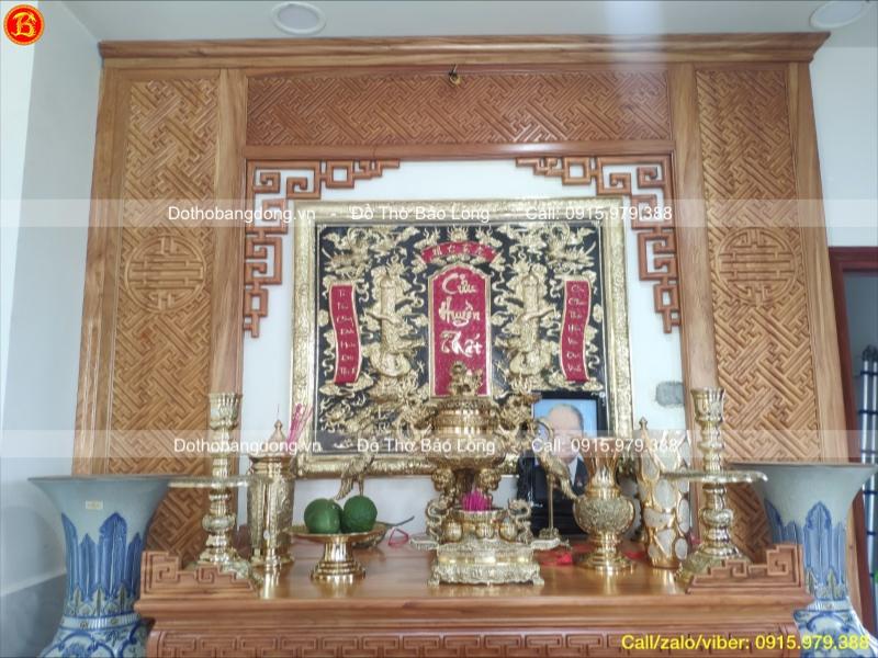 Liễn thờ Cửu Huyền Thất Tổ chạm thủ công 1m07 x 89cm