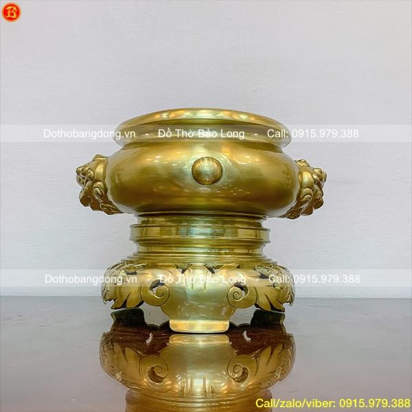 Bát hương bằng đồng Catut mẫu cổ cao 28cm