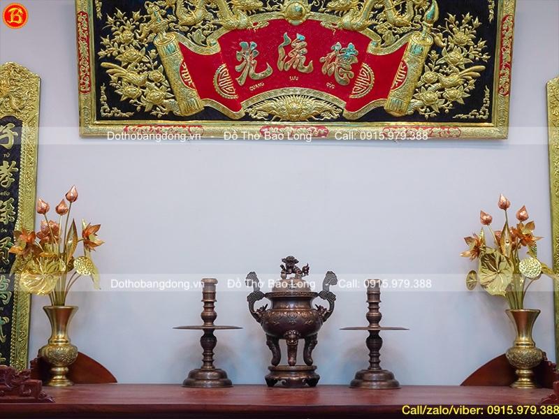 Bộ Tam sự đỉnh Dơi Thọ bằng đồng đỏ giả cổ cao 50cm