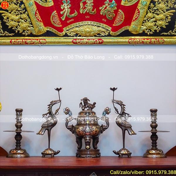 Bộ Ngũ sự đỉnh rồng khảm Tam khí 1 chữ vàng 50cm