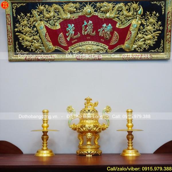 Bộ tam sự bằng đồng dát vàng 9999 đục rồng nổi cao 60cm